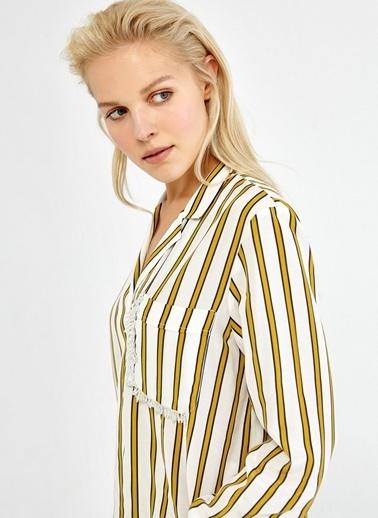 Nakışlı Çizgili Gömlek-Ipekyol